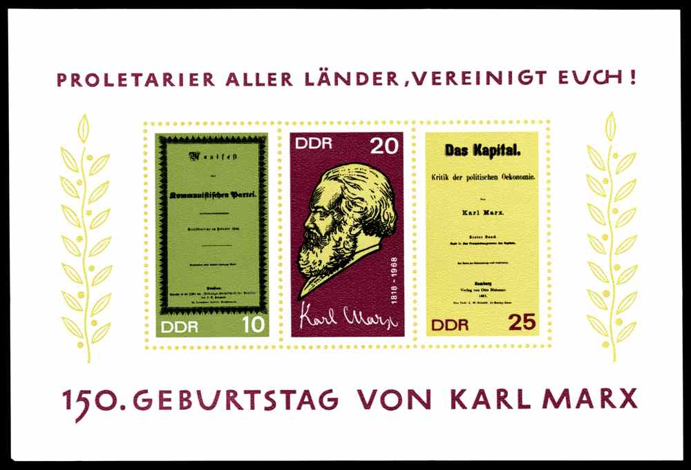 DDR 1968 Briefmarken Karl Marx MiNr. 1365-1367, Block 27