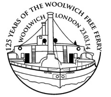 Die Woolwich-Ferry in London auf Sonderstempel