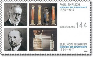 Paul Ehrlich und Emil von Behring auf Briefmarke zum 150. Geburtstag 2004